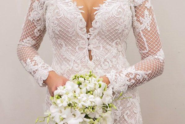 Vestido de Noiva sereia manga comprida - Denise Leal